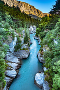 Shotover River, seen from Arthur's Point Bridge, Otago region, South Island of New Zealand.