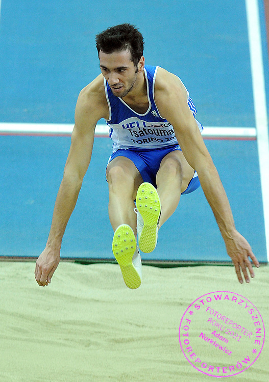 LOUIS TSATOUMAS (GREECE) COMPETES IN LONG JUMP MEN AT OVAL LINGOTTO HALL DURING EUROPEAN ATHLETICS INDOOR CHAMPIONSHIPS TORINO 2009...TORINO , ITALY , MARCH 07, 2009..( PHOTO BY ADAM NURKIEWICZ / MEDIASPORT )