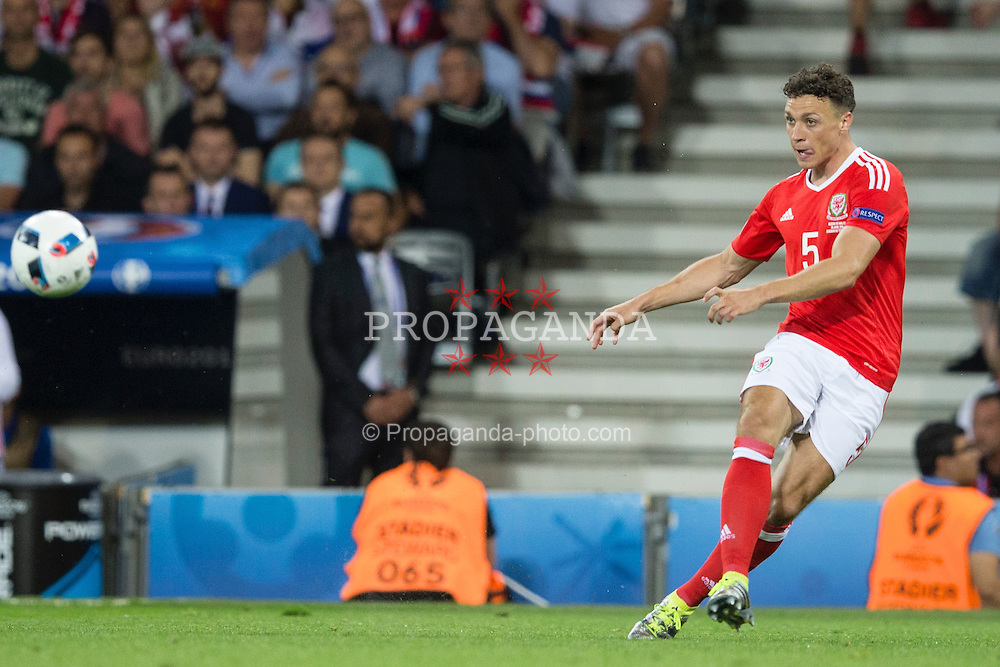 TOULOUSE, FRANCE - Monday, June 20, 2016: Wales' James Chester in action during the final Group B UEFA Euro 2016 Championship match against Russia at Stadium de Toulouse. (Pic by Paul Greenwood/Propaganda)