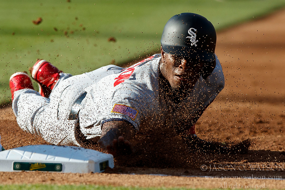 OAKLAND, CA - JULY 03:  Tim Anderson #7 of the Chicago White Sox dives into first base during the second inning against the Oakland Athletics at the Oakland Coliseum on July 3, 2017 in Oakland, California. The Chicago White Sox defeated the Oakland Athletics 7-2. (Photo by Jason O. Watson/Getty Images) *** Local Caption *** Tim Anderson