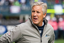 October 24, 2010; Seattle, WA, USA;  Seattle Seahawks head coach Pete Carroll on the sidelines before the game against the Arizona Cardinals at Qwest Field. Seattle defeated Arizona 22-10.