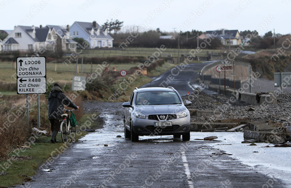 Carrigaholt where the road was completely coverd with stones thrown up by the sea. Pictures of storm damage in the Loophead Peninsula Co. Clare. Pic Noel Gavin Press 22