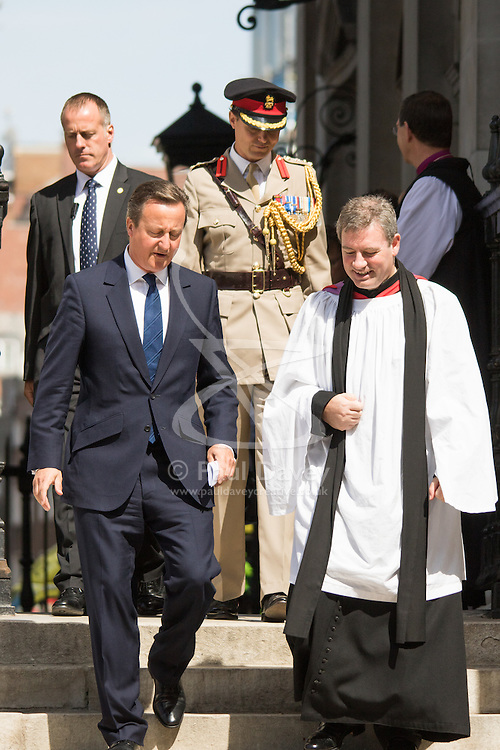 London, August 15th 2015 British Prime Minister David Cameron leaves St Martin-in-the-Fields church following a service commemorating the 70th anniversary of the Allies victory against Japan, which ended the Second World War.