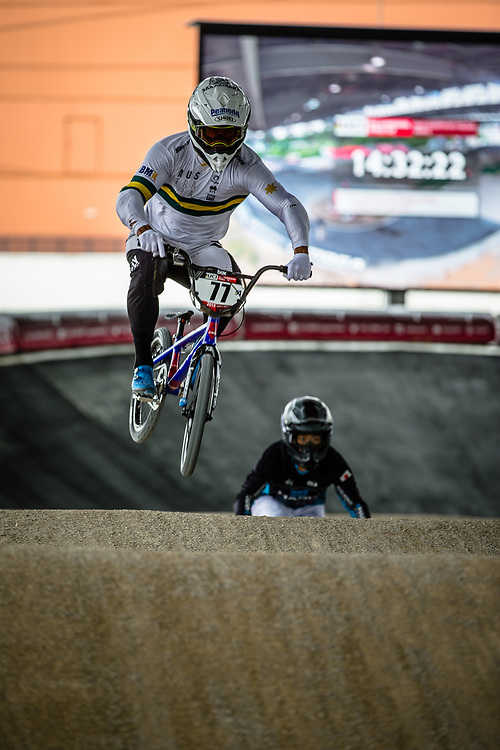 #77 (SAKAKIBARA Kai) AUS at Round 5 of the 2019 UCI BMX Supercross World Cup in Saint-Quentin-En-Yvelines, France