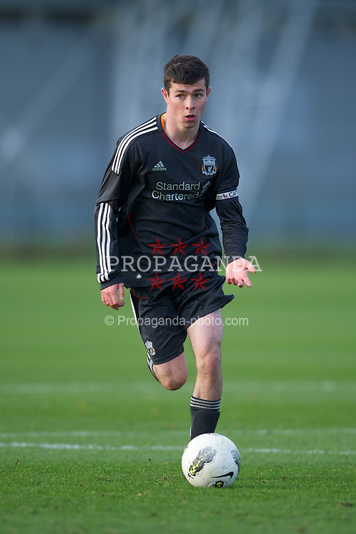 MANCHESTER, ENGLAND - Friday, November 25, 2011: Liverpool's captain Joseph Rafferty in action against Manchester United during the FA Premier League Academy match at the Carrington Training Ground. (Pic by David Rawcliffe/Propaganda)
