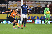 Jake Livermore of Hull City  crosses ball  during the Sky Bet Championship match between Hull City and Bolton Wanderers at the KC Stadium, Kingston upon Hull, England on 12 December 2015. Photo by Ian Lyall.