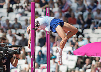 Athletics - 2017 IAAF London World Athletics Championships - Day Eight, Morning Session<br /> <br /> Mens High Jump -Qualification<br /> <br /> Robert Grabarx (Great Britain) clears the bar at the London Stadium<br /> <br /> COLORSPORT/DANIEL BEARHAM