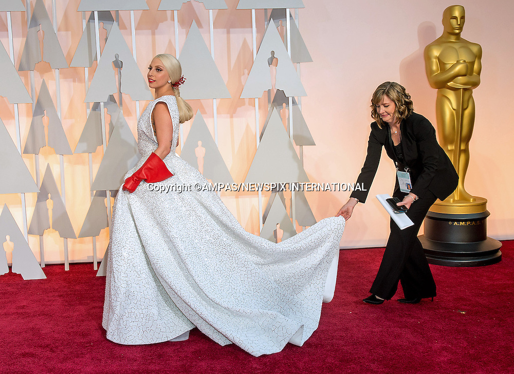 22.02.2015; Hollywood, California: 87TH OSCARS - LADY GAGA<br /> Celebrity arrivals at the Annual Academy Awards, Dolby Theatre, Hollywood.<br /> Mandatory Photo Credit: NEWSPIX INTERNATIONAL<br /> <br />               **ALL FEES PAYABLE TO: &quot;NEWSPIX INTERNATIONAL&quot;**<br /> <br /> PHOTO CREDIT MANDATORY!!: NEWSPIX INTERNATIONAL(Failure to credit will incur a surcharge of 100% of reproduction fees)<br /> <br /> IMMEDIATE CONFIRMATION OF USAGE REQUIRED:<br /> Newspix International, 31 Chinnery Hill, Bishop's Stortford, ENGLAND CM23 3PS<br /> Tel:+441279 324672  ; Fax: +441279656877<br /> Mobile:  0777568 1153<br /> e-mail: info@newspixinternational.co.uk
