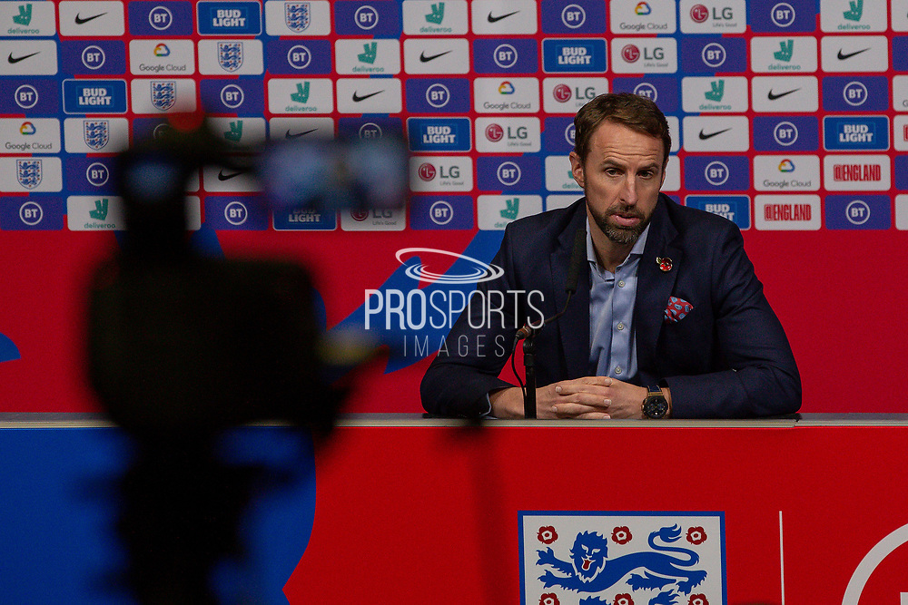 England manager Gareth Southgate during the England Football Team press conference ahead of the Kosovo away match in the UEFA Euro Qualifiers at Wembley Stadium, London, England on 7 November 2019.