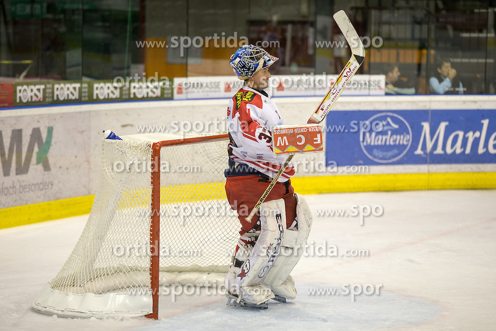 04.10.2015, Eiswelle, Bozen, ITA, EBEL, HCB Suedtirol vs EC KAC, 8. Runde, im Bild Tormann Bernd Brueckler (EC KAC) // during the Erste Bank Icehockey League 8th round match between HCB Suedtirol and EC KAC at the Eiswelle in Bozen, Italy on 2015/10/04. EXPA Pictures © 2015, PhotoCredit: EXPA/ Johann Groder