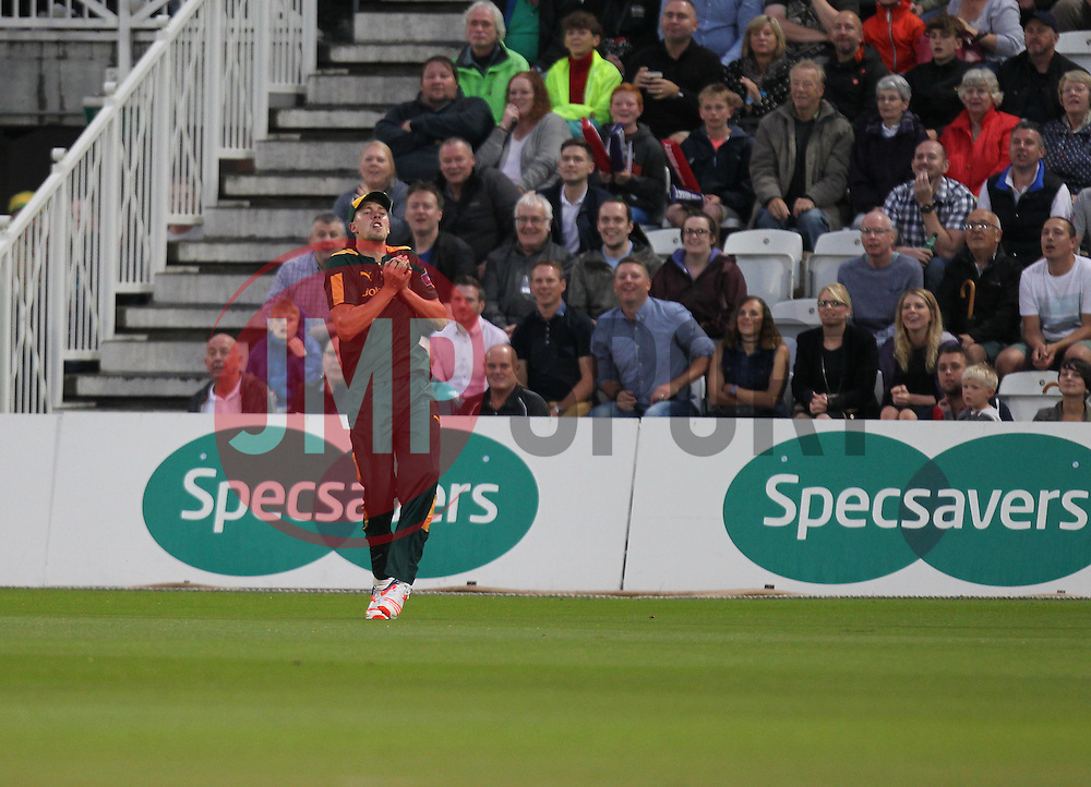 Jake Ball of Notts Outlaws catches out Lewis Hill of Leicestershire Foxes (Not Pictured) - Mandatory by-line: Jack Phillips/JMP - 29/07/2016 - CRICKET - Trent Bridge - Nottingham, United Kingdom - Nottingham Outlaws v Leicester Foxes - Natwest T20 Blast