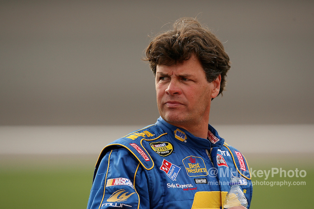 Michael Waltrip seen on pit lane prior to his qualifications run for the UAW Daimler Chrysler 400 at Las Vegas Motor Speedway on March 9, 2007.