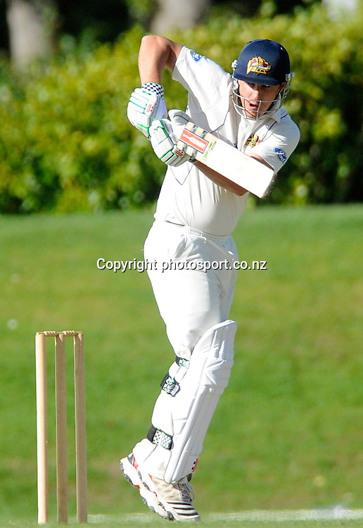 Hamish Rutherford of Otago smashes a four to go on and score 239, Plunket Shield cricket match between, Otago Volts v Wellington Firebirds , at the University oval, Dunedin, New Zealand. Tuesday 27 March 2011 . Photo: Richard Hood photosport.co.nz