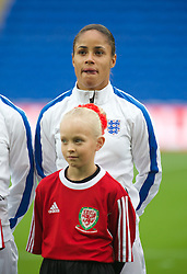 CARDIFF, WALES - Tuesday, August 21, 2014: England's Demi Stokes lines-up before the FIFA Women's World Cup Canada 2015 Qualifying Group 6 match against Wales at the Cardiff City Stadium. (Pic by Ian Cook/Propaganda)
