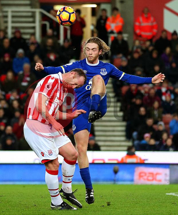Tom Davies of Everton challenges Charlie Adam of Stoke City - Mandatory by-line: Matt McNulty/JMP - 01/02/2017 - FOOTBALL - Bet365 Stadium - Stoke-on-Trent, England - Stoke City v Everton - Premier League
