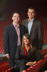 LIVERPOOL, ENGLAND - Thursday, September 6, 2007: Liverpool FC.TV presenters Peter McDowall (L), Matt Critchley and Claire Rourke at Anfield. (Photo by David Rawcliffe/Propaganda)