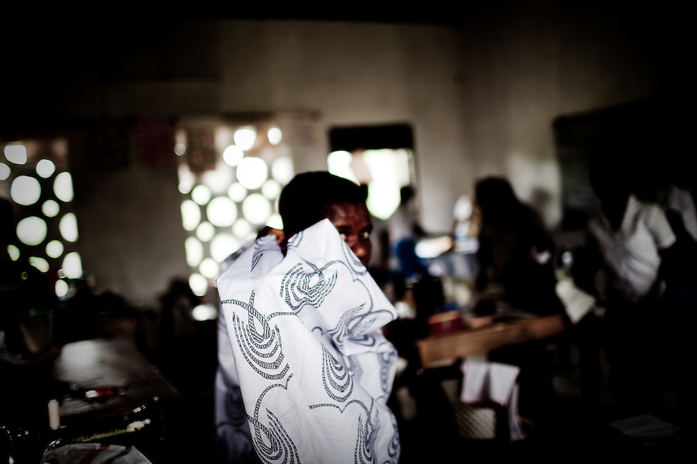 Sewing at an all-girls school run by FAWE in Obodan, Ghana.