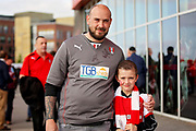 Rotherham Dad and Son arrive at the stadium before the EFL Sky Bet League 1 play off second leg match between Rotherham United and Scunthorpe United at the AESSEAL New York Stadium, Rotherham, England on 16 May 2018. Picture by Nigel Cole.