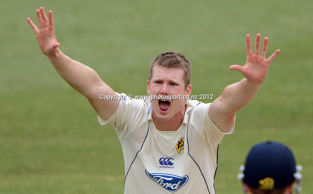 Otago's James Neesham appeals. Plunket Shield Cricket, Auckland Aces v Otago Volts at Eden Park Outer Oval. Auckland on Tuesday 4 December 2012. Photo: Andrew Cornaga/Photosport.co.nz