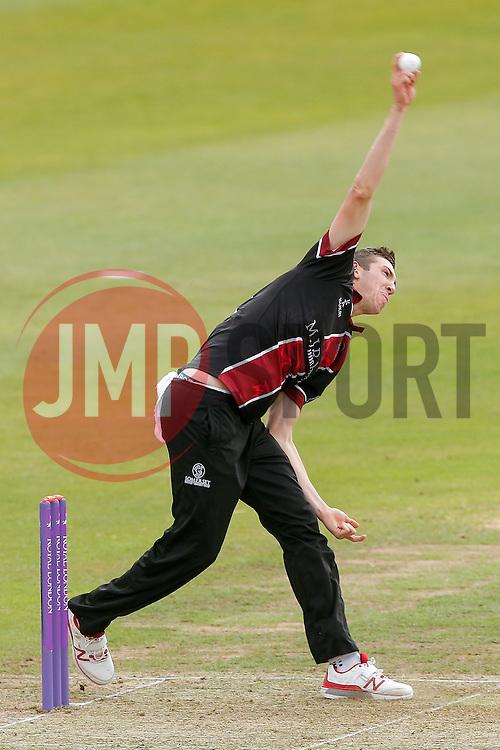 Craig Overton of Somerset bowls - Mandatory byline: Rogan Thomson/JMP - 07966 386802 - 26/07/2015 - SPORT - CRICKET - Taunton, England - County Ground - Somerset v Derbyshire Falcons -Royal London One-Day Cup.