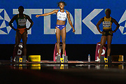 Dina Asher-Smith (Great Britain) in the spotlight before the Women's 100 Metres Final, during the 2019 IAAF World Athletics Championships at Khalifa International Stadium, Doha, Qatar on 29 September 2019.