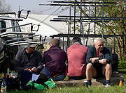 Barnes, Greater London, United Kingdom.  General views of crews relaxing before the start of the 2014 Head of the River Race, Mortlake to Putney, Championship Course River Thames;  Saturday  - 29/03/2014  [Mandatory Credit; Intersport Images],