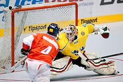 Karel Rachunek of Czech Republic vs Sebastian Idoff of Sweden at IIHF In-Line Hockey World Championships 2011 Top Division quarter final match between National teams of Sweden and Czech Republic on June 24, 2011, in Pardubice, Czech Republic. (Photo by Matic Klansek Velej / Sportida)