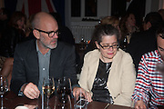 Michael Stipe; Amanda Sharp, DINNER TO CELEBRATE THE ARTISTS OF FRIEZE PROJECTS AND THE EMDASH AWARD 2012 hosted by ANDREA DIBELIUS founder EMDASH FOUNDATION, AMANDA SHARP and MATTHEW SLOTOVER founders FRIEZE. THE FORMER CENTRAL ST MARTIN'S SCHOOL OF ART AND DESIGN, SOUTHAMPTON ROW, LONDON WC1. 11 October 2012