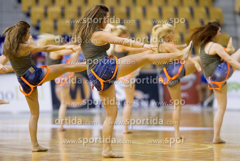 Cheerleaders of Plesna sola Urska during handball match between RK Celje Pivovarna Lasko and RK Gorenje Velenje in 5th Round of 1. NLB Leasing Handball League 2012/13 on October 3, 2012 in Arena Zlatorog, Celje, Slovenia. (Photo By Vid Ponikvar / Sportida)