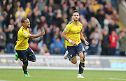 Oxford United defender George Baldock (2) scores the winner and celebrates during the Sky Bet League 2 match between Oxford United and AFC Wimbledon at the Kassam Stadium, Oxford, England on 10 October 2015.