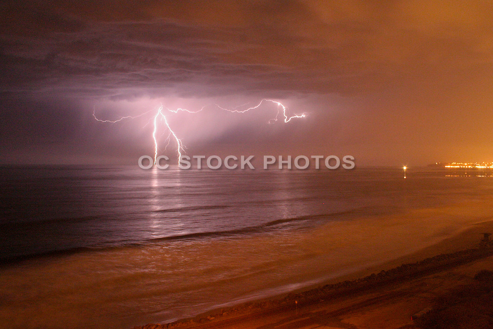 Lightning Storm over the Ocean in San Clemente