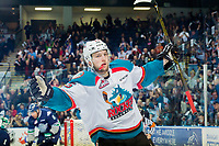 KELOWNA, CANADA - APRIL 26: Tomas Soustal #15 of the Kelowna Rockets celebrates a third period goal against the Seattle Thunderbirds on April 26, 2017 at Prospera Place in Kelowna, British Columbia, Canada.  (Photo by Marissa Baecker/Shoot the Breeze)  *** Local Caption ***