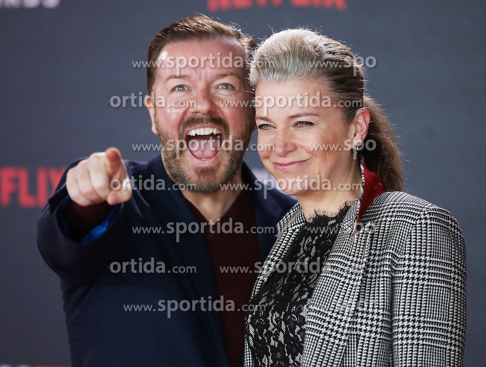 Ricky Gervais and Jane Fallon attends the World Premiere of 'House of Cards' Season 3 at The Empire Cinema on February 26, 2015 in London, England. EXPA Pictures &copy; 2015, PhotoCredit: EXPA/ Photoshot/ James Shaw<br /> <br /> *****ATTENTION - for AUT, SLO, CRO, SRB, BIH, MAZ only*****
