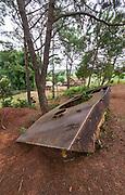 Laos, Xieng Khouang Province. Plain of Jars. Wreck of a Russian tank.