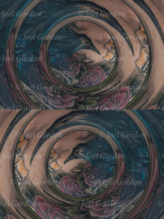 Diptych of the same image, one flipped of close up of digital enhanced tattoo of radial mirrored bird.<br />