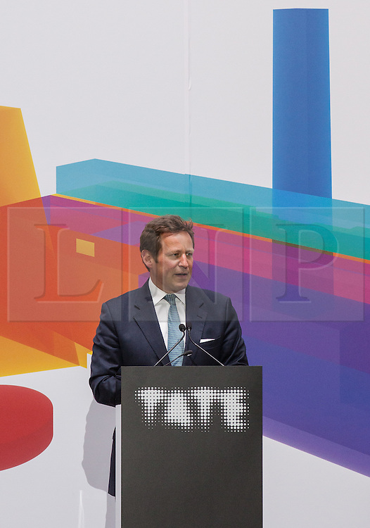 © Licensed to London News Pictures. 14/06/2016. London, UK. Ed Vaizey, Minister of State for Culture,  Communications and Creative Industries, speaks at a press conference at the launch of the Switch House, the new Tate Modern building which opens to the public on Friday 17 June 2016. The ten-storey extension was designed by architects Herzog & de Meuron and includes the world's first gallery space dedicated exclusively to live art, film and installations. Photo credit: Rob Pinney/LNP