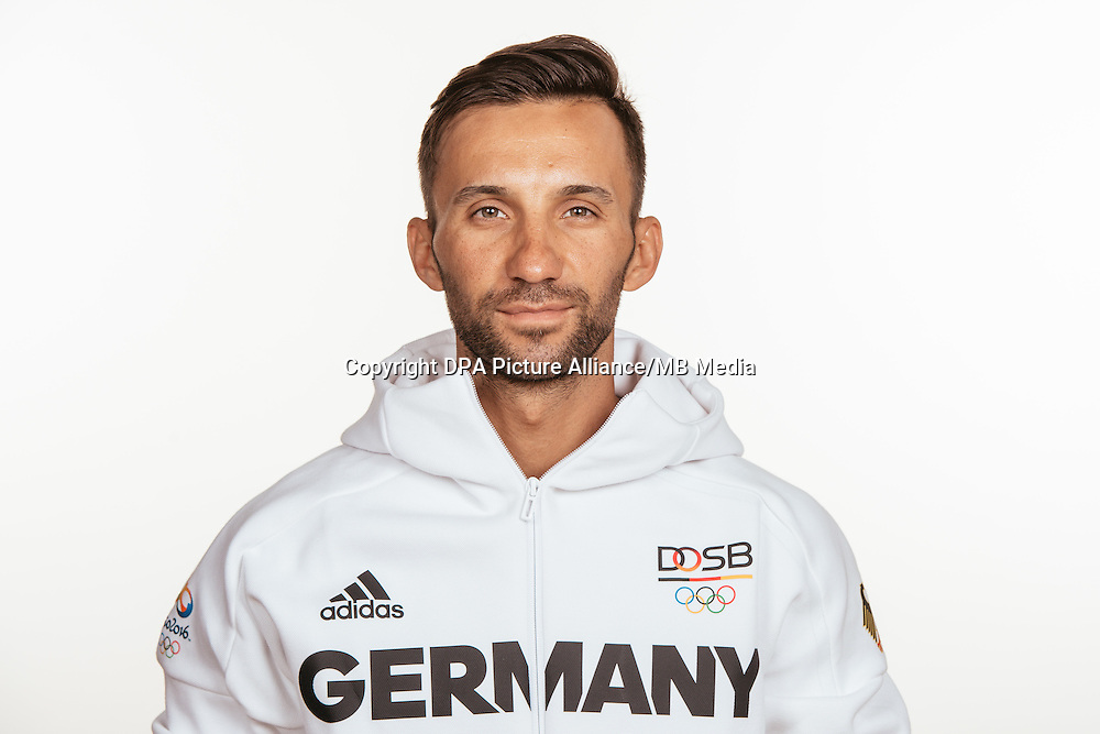 Manuel Fumic poses at a photocall during the preparations for the Olympic Games in Rio at the Emmich Cambrai Barracks in Hanover, Germany, taken on 12/07/16   usage worldwide
