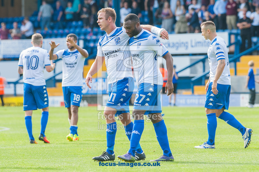 Tom Pope and Nathan Cameron of Bury celebrate at the final whistle following the Sky Bet League 1 match at Gigg Lane, Bury<br /> Picture by Matt Wilkinson/Focus Images Ltd 07814 960751<br /> 06/08/2016