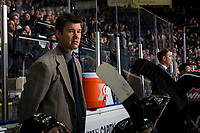 KELOWNA, BC - FEBRUARY 16: Vancouver Giants' head coach Michael Dyck stands on the bench against the Kelowna Rockets at Prospera Place on February 16, 2019 in Kelowna, Canada. (Photo by Marissa Baecker/Getty Images)