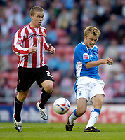 Photo: Jed Wee.<br /> Sunderland v Birmingham City. Coca Cola Championship. 09/08/2006.<br /> <br /> Birmingham's Sebastian Larsson (R) tries to unlock the Sunderland defence.