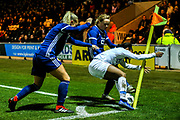 Crystal Dunn (#19) of USA defends the ball by the corner flag from the challenges of Kirsty Smith (#2) of Scotland and Erin Cuthbert (#22) of Scotland during the Women's International Friendly match between Scotland Women and USA at Simple Digital Arena, Paisley, Scotland on 13 November 2018.