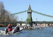 London, United kingdom.  Both crews approaching Hammersmith Bridge, during the Pre 2014 Varsity Boat Race Fixture, Cambridge University BC vs Molesey Boat Club, over the Championship Course; Putney to Mortlake, River Thames, Greater London on Sunday  16/03/2014 [Mandatory Credit: Peter Spurrier/Intersport Images]<br />