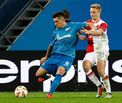 October 4, 2018 - Saint Petersburg, Russia - Matias Kranevitter (L) of FC Zenit Saint Petersburg and Jan Matousek of SK Slavia Prague vie for the ball during the Group C match of the UEFA Europa League between FC Zenit Saint Petersburg and SK Sparta Prague at Saint Petersburg Stadium on October 4, 2018 in Saint Petersburg, Russia. (Credit Image: © Mike Kireev/NurPhoto/ZUMA Press)