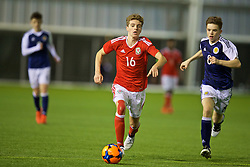 EDINBURGH, SCOTLAND - Tuesday, November 1, 2016: Wales' Josh Hosie in action against Scotland during the Under-16 2016 Victory Shield match at ORIAM. (Pic by David Rawcliffe/Propaganda)