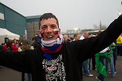 Supporter of Slovenia  prior to the EURO 2012 Qualifications game between National teams of Slovenia and Northern Ireland, on March 29, 2011, in Windsor Park Stadium, Belfast, Northern Ireland, United Kingdom. (Photo by Vid Ponikvar / Sportida)