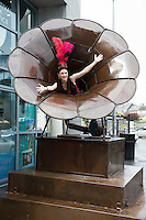 "Actor Emma Regan with giant sculpture ""The Gramaphone"" by Donnacha Cahill opens the Galway International Arts Festival 2016 Box Office located at the Galway Tourist Office. The Festival runs from the 11th to the 24th of July in the city of the Tribes. . Photo:Andrew Downes, xposure"