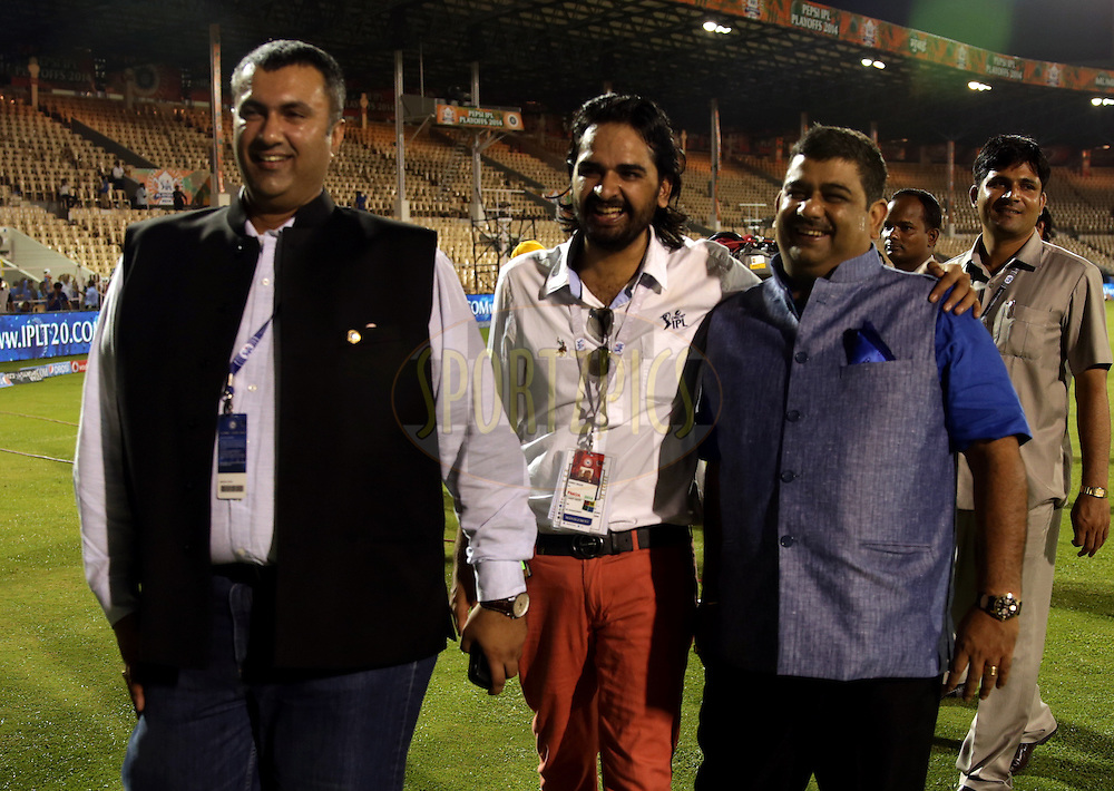 BCCI treasurer Anirudh Choudhary ,Ankit and IPL CHairman Ranjib Biswal during the eliminator match of the Pepsi Indian Premier League Season 2014 between the Chennai Superkings and the Mumbai Indians held at the Brabourne Stadium, Mumbai, India on the 28th May  2014<br /> <br /> Photo by Sandeep Shetty / IPL / SPORTZPICS<br /> <br /> <br /> <br /> Image use subject to terms and conditions which can be found here:  http://sportzpics.photoshelter.com/gallery/Pepsi-IPL-Image-terms-and-conditions/G00004VW1IVJ.gB0/C0000TScjhBM6ikg