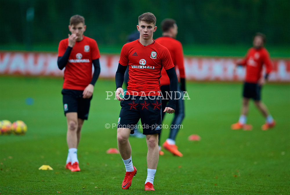 CARDIFF, WALES - Monday, November 6, 2017: Wales' Ben Woodburn during a training session at the Vale Resort ahead of the international friendly match against France. (Pic by David Rawcliffe/Propaganda)