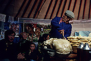 Mongolia. celebration and toast for a traditional weding  in a yurt in  Atar  little village in the steppe     /  mariage traditionnel  a l interieur de  la yourte  Atar petit village perdu dans la steppe /  P0009415  b