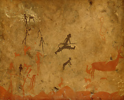Deer hunting, facsimile of a neolithic cave painting from the Cueva del Tio Garroso, Alarcon, Teruel, in the Archaeological Museum of Ubeda, Ubeda, Jaen, Andalusia, Spain. Picture by Manuel Cohen